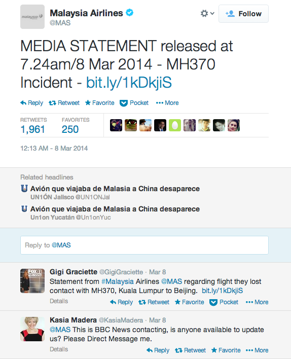Malaysia Airlines Twitter statement MH370