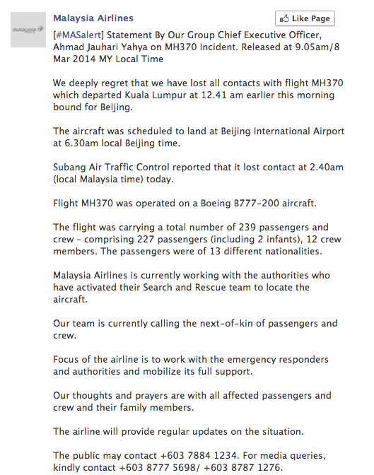 Malaysia Airlines use Facebook to publish statements during crisis